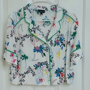 Topshop cropped button down blouse